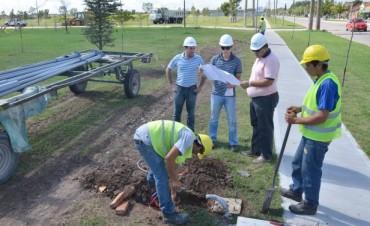 Funcionarios recorrieron las obras de Iluminación en el Parque Avellaneda