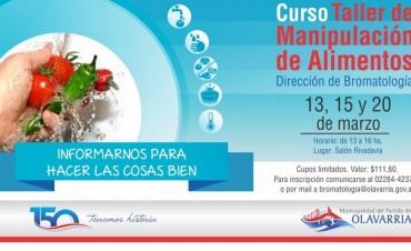 Curso Taller de Manipulación de Alimentos: 13, 15 y 20 de marzo en el Salón Rivadavia