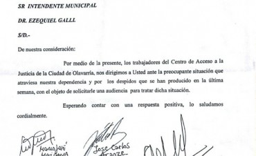 Trabajadores del CAJ renuevan el pedido de audiencia ante el intendente
