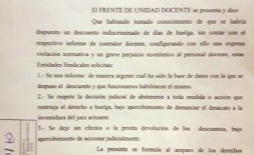 Reclamo del Frente de Unidad a Vidal por descuentos indiscriminados