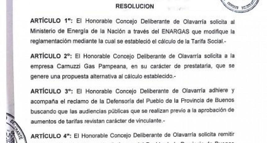 Cuidemos Olavarría presentó un proyecto acompañando reclamo por las tarifas