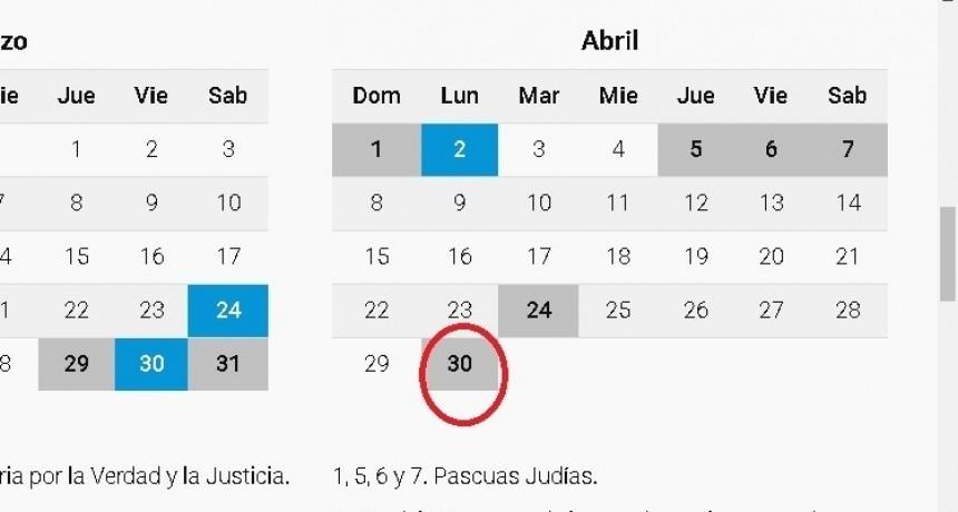 ¿Es feriado el 30 de abril?