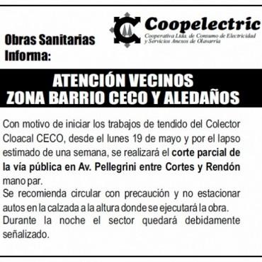 Coopelectric programa corte parcial de calle por Obras Sanitarias