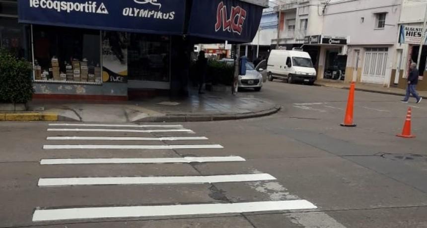 Se realizaron trabajos de demarcación de sendas peatonales