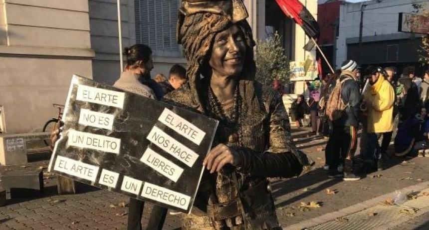 Manifestación de artistas callejeros