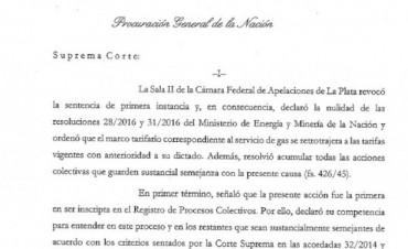 Gils Carbó dictaminó a favor de confirmar la sentencia que frenó el aumento en la tarifa de gas