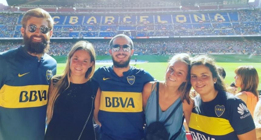 Eva García alentó a Boca Juniors en Barcelona