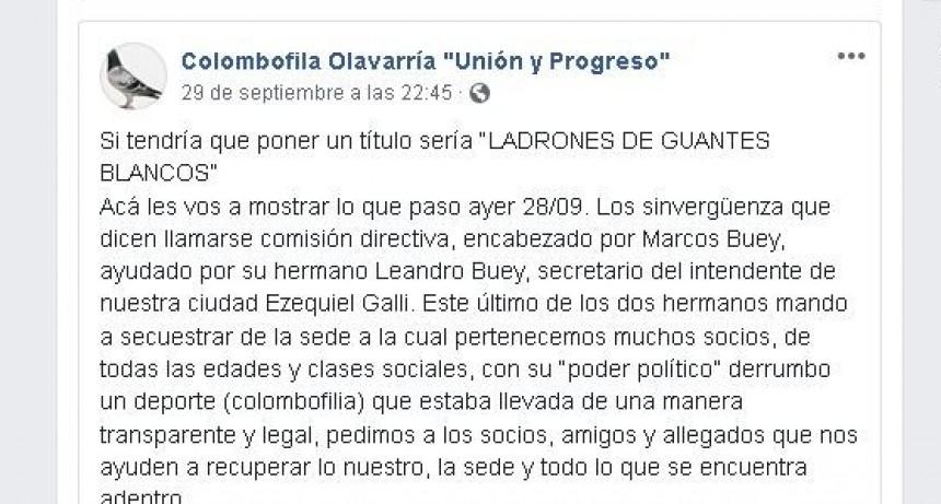 Pelea en la Asociación Colombófila, motivó la intervención policial