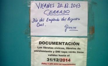 Los Registros Civiles cerrados este viernes