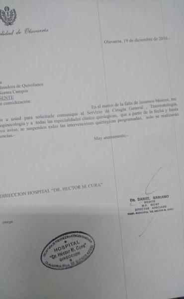 Suspenden intervenciones programadas en el hospital por falta de insumos