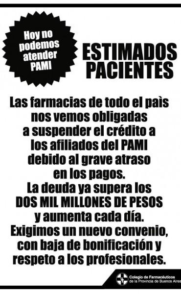 Otra vez las farmacias no atienden a afiliados de PAMI