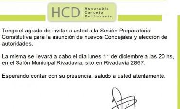 Sesión preparatoria constitutiva del Concejo Deliberante