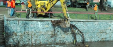 Retiran troncos del puente peatonal de la calle Hornos