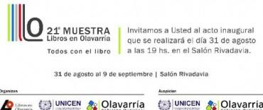 Este viernes se inaugura la 21º Muestra de Libros en Olavarría