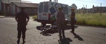Motociclista lesionada