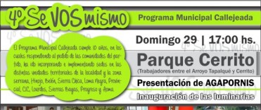 """Este domingo, con Agapornis como cierre musical, será el 4º Encuentro de Callejeadas """"Se vos mismo"""""""