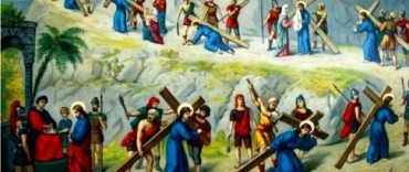 Vía Crucis organizado por alumnos de la escuela Rosario y Cáneva